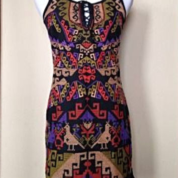 Free People Needlepoint Embroidered Tribal Pattern Dress