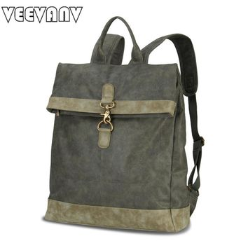 2017 VEEVANV Vintage Canvas Women Backpacks Female Designer Leather School Laptop Backpacks for Girls Travel Shoulder Bag Ladies