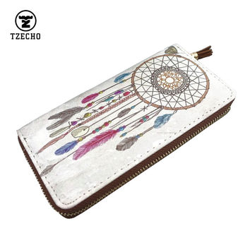 Fashion Zipper Arround Womens Wallets Leather PU Print Dream Catcher Long Ladies Money Purses Coin Pocket Card Holder Clutch Bag