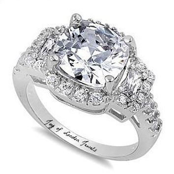 SALE  A Perfect 5CT Cushion Cut Russian Lab Diamond Engagement Ring