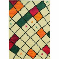 Oriental Weavers Contemporary Ivory Colorful Polypropylene Geometric Machine-Woven Area Rug