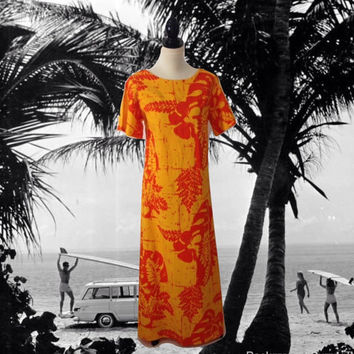 Orange Caftan Maxi Long Dress Cotton Bright Orange Gold Print Beach Caftan Summer Dress Kaftan Large Size Short Bell Sleeves