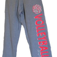 Volleyball Sweatpants in Gray with Hot Coral PInk Print