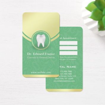 Cosmetic & General Dentist Appointment Green Gold Business Card