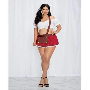 2 pc Stretch Mesh Top, Mini Skirt w/Attached Suspendes & Hair Ribbons Red/White QN