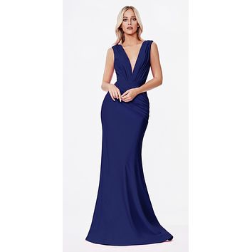 Long Fitted Jersey Gown Navy Blue Ruched Pleated Waistline Deep V-Neckline