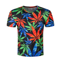 BIANYILONG 2017 Newest unisex 3D weed leaf t shirt shirts green palm funny T-shi