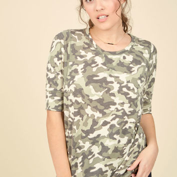 Best of Botanical Top in Camo | Mod Retro Vintage Short Sleeve Shirts | ModCloth.com