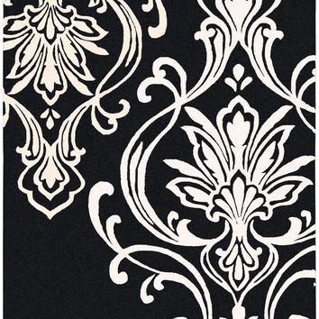 Modern Classics Medallion and Damasks Area Rug Black