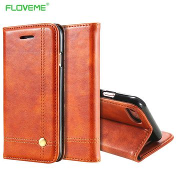 FLOVEME Deluxe Noble Men Leather Case For iPhone 6 Plus 6s Wallet Cover Luxury Brown Flip Holster For iPhone 7 Plus Bags