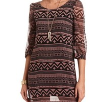 TRIBAL PRINT CHIFFON SHIFT DRESS