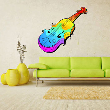 Full Color Wall Decal Mural Sticker Decor Art Music Notes Jazz violin bass (col311)