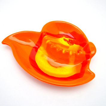 Vintage Ashtray, Bright Orange and Yellow Drip Glaze, Ceramic Ashtray or Trinket Bowl, Woolco, 1960s