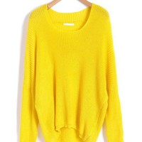 Neon Color Batwing Jumpers with Dip Hem