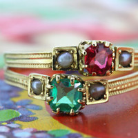Antique Emerald Engagement Ring   French Victorian Ruby Ring   18k Yellow Gold Ring   French 1800s Ring   Gemstone Stacking Ring   Size 5.5