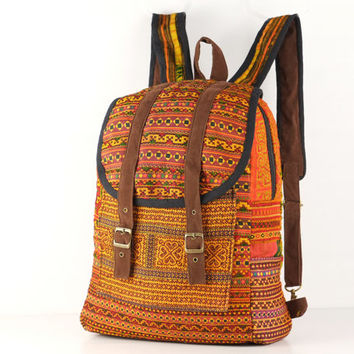 Vintage Student Backpack Day Bag, Overnight Travel Backpack Native Oriental Textile
