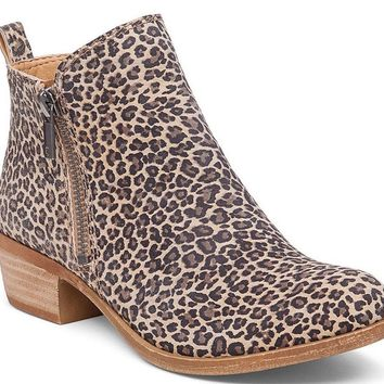 Lucky Brand Basel Sesame Persian Leopard Leather Booties