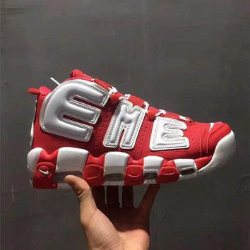 Nike Air More Uptempo Supreme Red sport shoes