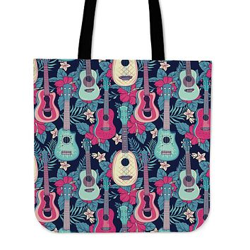 Tropical Ukulele Linen Tote Bag