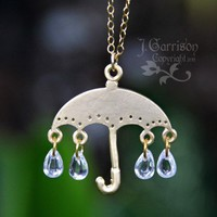 Golden umbrella & cubic zirconia rain drops charm necklace, gold chain | NightOwlJewelry - Jewelry on ArtFire
