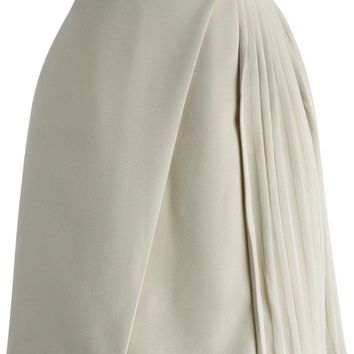 Ivory Flap Skirt with Side Pleats