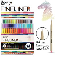 Bianyo 48 Colors Fineliner Sketch Marker Needle Drawing Pen Set For School Student Design Stationery Art Marker Supplies