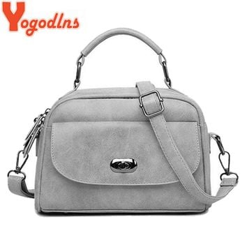 Yogodlns High Quality Nubuck Leather Women Top-Handle bag Fashion lock Women Shoulder Bag Shell Stlye Women Bag
