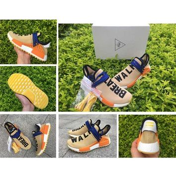 2017 Human Race NMD Real Boost Yellow Breath Walk Men Women Pharrell Williams X Running Shoes Real Boost Training Sneakers With Box