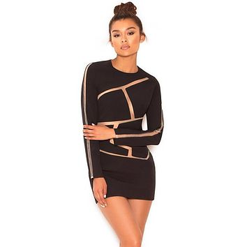 Caribe black and nude geometric dress