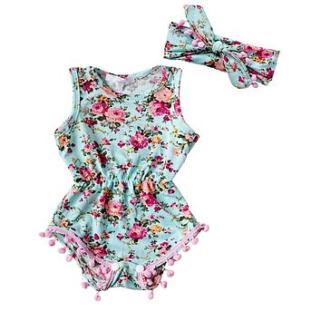 Floral Summer Romper with Headband