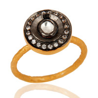 Vintage Style Crystal Quartz & CZ Sterling Silver With Gold Plated Ring Size 7