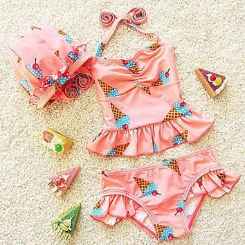 Swimsuit girls bikini girls swimwear swimsuit children girls two pieces swimming cap swimsuits for children swimming