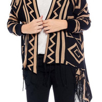 Hi-low style patterned long sleeve fringed cardigan