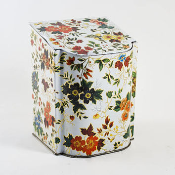 Vintage Flower Print Tea Tin Biscuit Container Storage Box, Cottage Kitchen Decor, Made in England