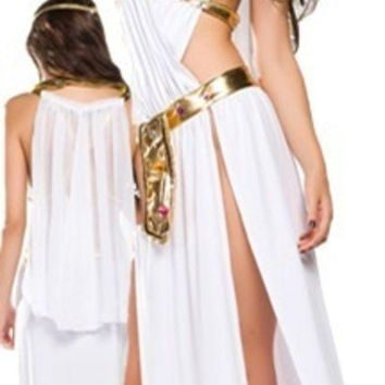 Sexy White Greek Goddess Costume Long Dress Halloween 3pcs = 1928076484