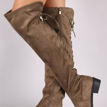 Suede Back Lace-Up Over-The-Knee Riding Boots
