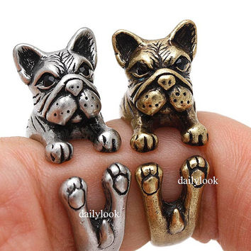 retro bulldog ring, bulldog ring, retro ring, dog ring, man ring, vintage ring, adjustable ring, animal ring, wrap ring, cute ring, bulldog