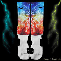 Galaxy Lightning 2.0 Print Custom Nike Elite Crew Sock - Nebula, Space, Planets