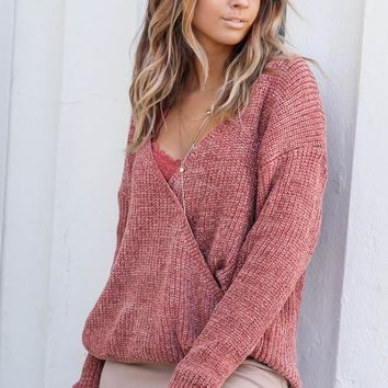 Take My Time Ginger Surplice Front Chenille Sweater