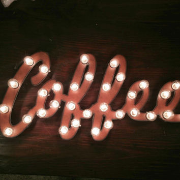 COFFEE Marquee Lighted Light Sign made of Rusted Recycled Metal Vintage inspired