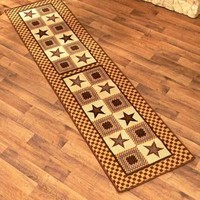 Country Star Runner Rug Carpet Mocha Brown Blue Rustic Primitive Home Decor