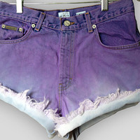 Purple Ombre Highwaisted Denim Shorts