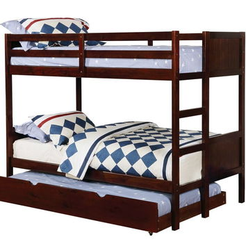 Annette collection walnut finish wood twin over twin paneled headboards bunk bed set