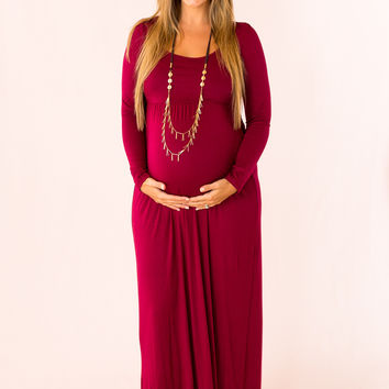 Stay Longer Maternity Dress in Burgundy