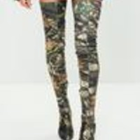 Missguided - Khaki Leaf Printed Thigh High Pointed Shoes