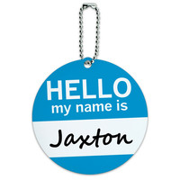 Jaxton Hello My Name Is Round ID Card Luggage Tag