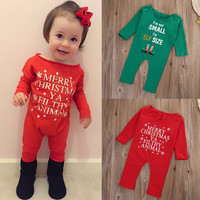 Baby Girls Christmas Rompers Newborn Infant Baby Girls Xmas Romper Jumpsuit Outfit Sunsuit Clothes Winter Romper Merry Christmas