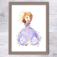Disney princess Sofia print Sofia the First watercolor poster Disney wall decor Baby shower gift Nursery room decor Kids room wall art V202
