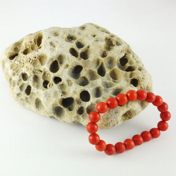 Red Turquoise Bracelet Red Turquoise Beaded Jewelry Gemstone Bracelets Statement Jewelry Rondelle Beads