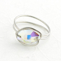 Simple Ring Swarovski Ring Crystal AB Oval